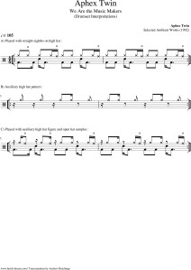 drum transcription, aphex twin, we are the music makers, heliosphan, drum lessons, hutch, Andrew Hutchings